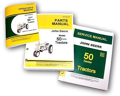 Lot New John Deere Model 50 Tractor Service Repair Parts Owner Operators Manuals