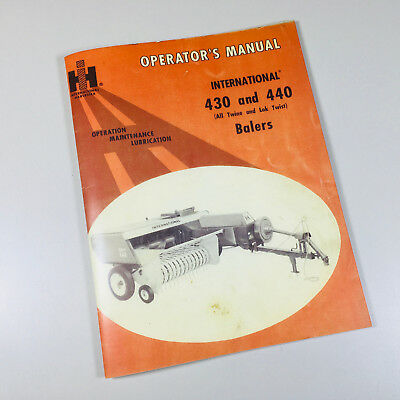 Ih International 430 440 Baler Service Operators Owner Adjustment Manual Knotter