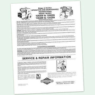 BRIGGS AND STRATTON 5hp ENGINE 130200 to 131299 OPERATING MANUAL OPERATORS POINT