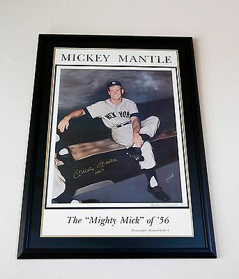 HUGE Mickey Mantle Framed and Signed Print Auto! Rare! PSA/DNA