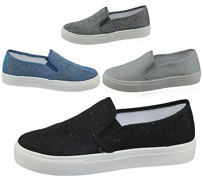Womens Glittered Flat Shoes Ladies Casual Comfort Shiny Flat Pumps Trainer Size