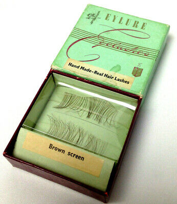 Vintage EYLURE EYELASHES Hand Made Real Hair Lashes Brown Screen in Original Box