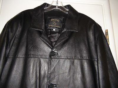 Vera Pelle BBano Black Men's Leather Jacket Sz XL Made in Italy Button Down