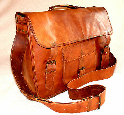 "Handmade Leather Satchel Messenger  Laptop Bag 16"" Seconds Attached Handle S2"