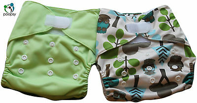 UK SELLER: 2 NEW Reusable One-Size PUL Pocket Nappies + 4 Microfibre Inserts