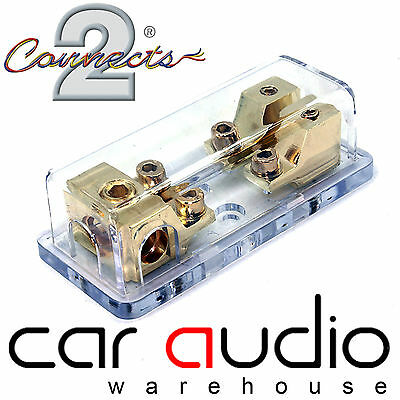 2 Way Gold Fused Mini ANL Fuse Holder Distribution Block 4 Awg In 8 Out CT37-34