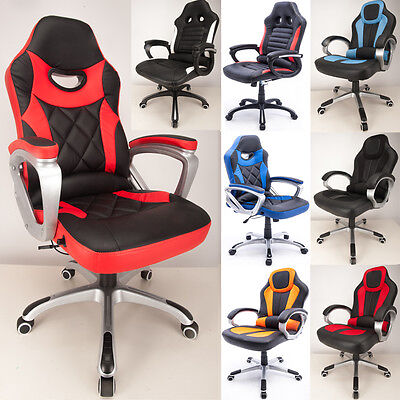 Raygar Reclining Sport Racing Car Office Chair, Adjustable Gaming Desk Chair
