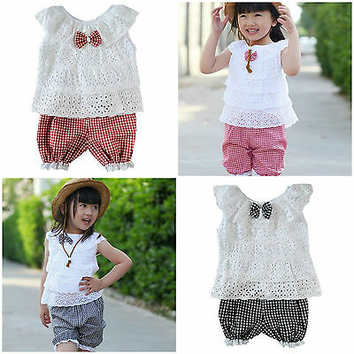 Baby Toddler Girls Kids Ruffled T-Shirt Top & Shorts Outfit 2PCS Clothes Set