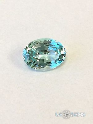 Aquamarine. Oval 8x6 mm. Oval. 1 Ct. NANOSITAL Created gemstone. US@GEMS