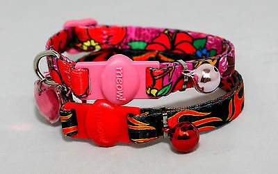 Cat kitten Collar,cat Safety collar with bell and ID heart, bling cat collar
