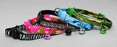 Cat collar Camouflage Safety Release Cat Collar Black & White, Green, Blue, Pink