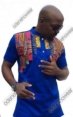 Odeneho Wear Men's Blue Polished Cotton Top /Dashiki Stripe. African Clothing