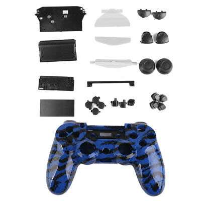 Stripe Controller Shell Housing Case Kit w/ Button for PlayStation4 PS4 Blue
