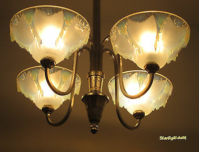 Wonderful French Art Deco Chandelier 1930 - Signed: Ezan - Opalescent Glass -