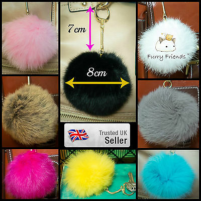 3 FOR 2! UK 8cm Large REAL Lucky Rabbit Fur Hat & Tailor Ball PomPom Accessory