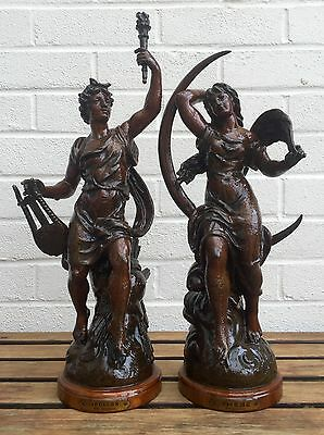 Emile Bruchon -Phebe & Apollon- Large Glazed Spelter Sculpture Figures Oak Bases