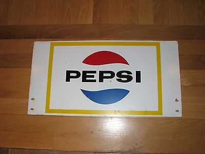 Vintage Late 60s Early 70s Metal Pepsi  Sign 21 x 11 Double Sided