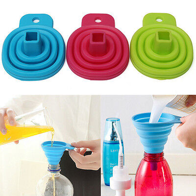 Practical Silicone Collapsible Foldable Funnel Hopper Kitchen Gadget  3Color