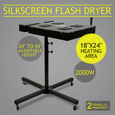 "New 18""X24"" Flash Dryer Silkscreen T-shirt Printing Curing Adjustable Electrical"