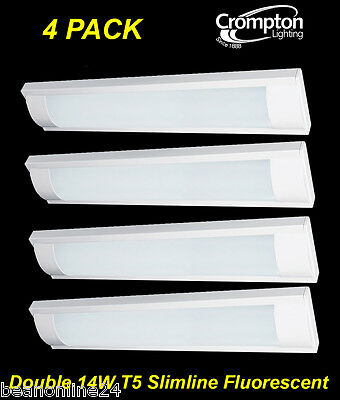 4 Pack x Crompton Twin 14W T5 Slimline T5 Fluorescent Light with Diffuser NEW