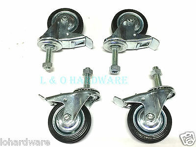 "4 PC 3"" (75MM) SWIVEL CASTOR WITH BRAKE(STOP) M12 X 40mm BOLT & NUT"