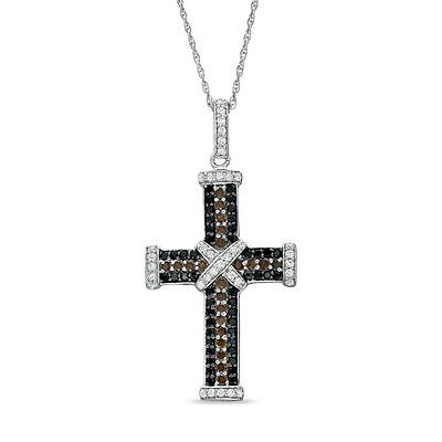 0.50 Carat Brown , Black and White Diamond Cross Pendant Crafted in White Gold
