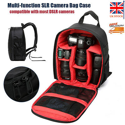 Waterproof Camera Backpack Bag DSLR Case For Canon Nikon Sony Camera Len Red