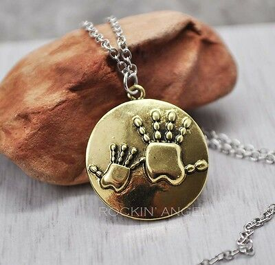 925 Silver & Gold Plt Mum / Child Hand Necklace Pendant ladies  Mothers gift