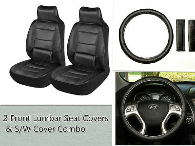 2 Front Lumbar Car Seat Covers &Steering Wheel  Cover Combo for Nissan Black