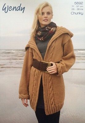 Wendy Cable Edge Jacket Chunky Knitting Pattern Leaflet 5692 New Free P&P