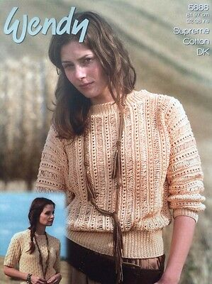 Wendy Batwing and Short Sleeve Jumper Knitting Pattern Leaflet 5666 New Free P&P
