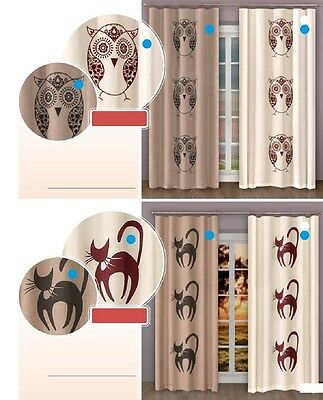 Linen Modern Single Windows Curtains With Pattern Black Owl And Cat