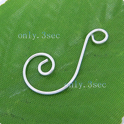 100 pcs Silver Plated Premium Swirl Scroll Christmas Ornament Hooks Hangers P002