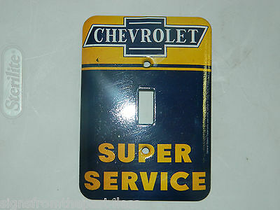 "Metal Collectible Chevrolet ""super Service"" Light Switch Plate Cover Gm Licensed"