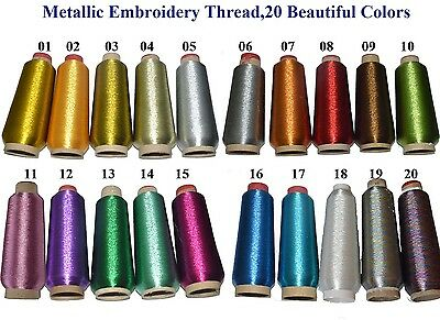 20 Sparkle Metallic Machine Embroidery Thread Colors,Big 4000m Cone,Choose Color