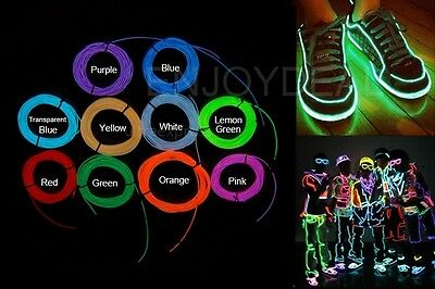 Flexible Neon LED Light Glow EL Strip Tube Wire  for Car Dance Party +Controller
