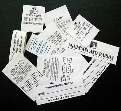 250 Clothing Labels Printed Labels Customise Taffeta Labels Personalized Tags