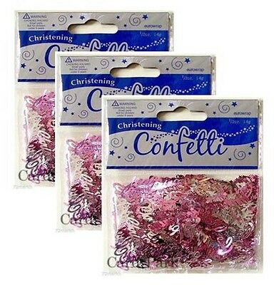 Pink & Silver Christening Decorative Table Confetti x 3 Approx 14G Per Pack