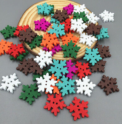 100pcs Mixed Color Christmas Snowflake Wooden Buttons Sewing Scrapbooking 18mm