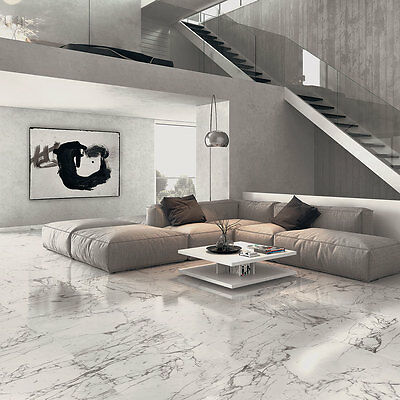 Arabescato Veined White Marble Effect Polished Porcelain Floor Tile 750x750x11mm
