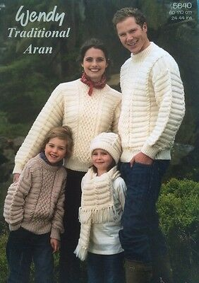 Wendy Family Aran Sweaters Hat Scarf Knitting Pattern Leaflet 5640 New Free P&P