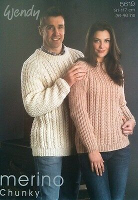 Wendy His & Hers Merino Sweaters Knitting Pattern Leaflet 5619 New Free P&P