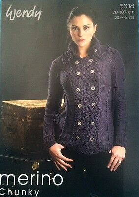 Wendy Ladies Merino Military Jacket Knitting Pattern Leaflet 5618 New Free P&P