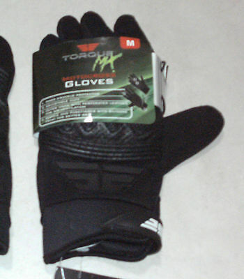 TORQUE: Unisex Size: M. Quality MOTOCROSS Black Hard-Knuckl Protective Gloves