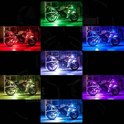 SportBike 8 Strip LED Kit Remote Multi Color Light Street Accent Glow Motorcycle