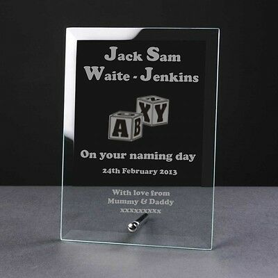 Engraved Personalised Glass Frame Plaque Birth Christening Naming Day Block Gift