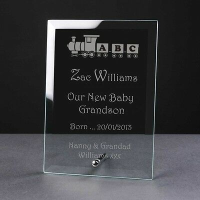 Engraved Personalised Glass Frame Plaque Birth Christening Naming Day train Gift