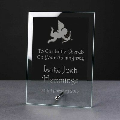 Engraved Personalised Glass Frame Plaque Birth Christening Gift Cherub Angel