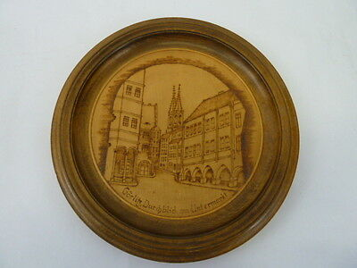 Vintage Black Forest Untermarkt Wall Hanging Wood Plate.germany