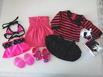 """NEW-DOLL CLOTHES - Bikini/Skirt/Dress/Shoes fit 18""""Doll such as AG Doll-Lot #198"""
